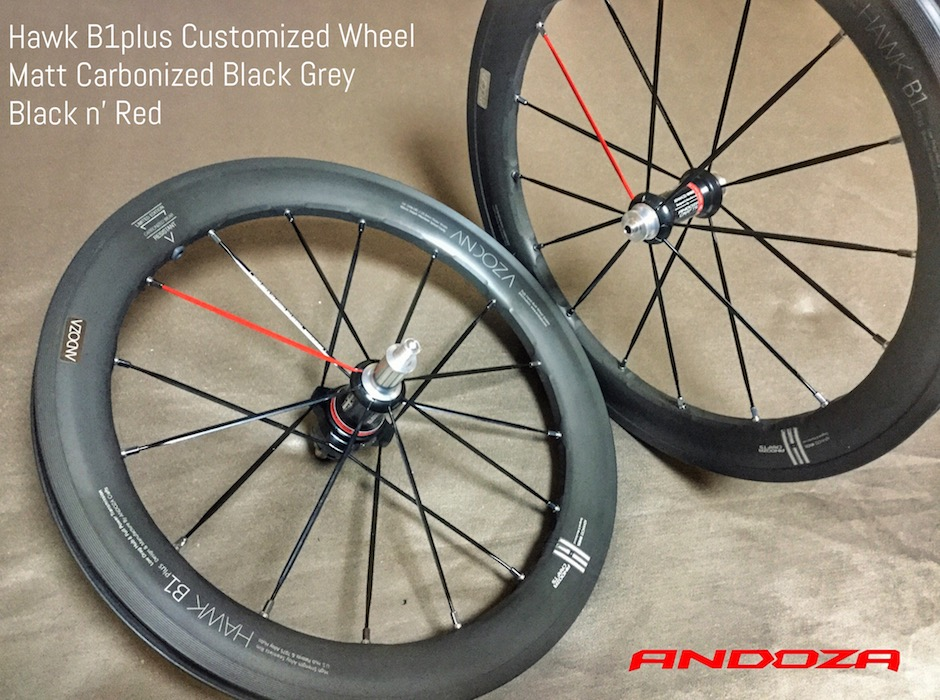 Hawk B1plus Matt Carbonized Black Grey & Red Hot Spoke